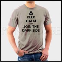 free shipping JOIN THE DARK SIDE Star Wars KEEP CALM T-shirt men short sleeve cotton Lycra top