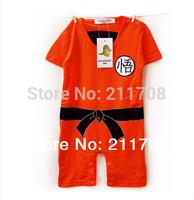 NEW retail summer Goku Baby Romper orange embroidered boys jumpsuits 1PC