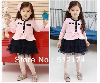 2013  2  to 9 years Old Summer  Elegant Princess Girls Clothing Baby Long-Sleeve Dress Female Children's Wear Freeshpping