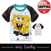 Spongebob T-shirt kids baby cotton Tshirt children T shirts for summer Children Clothing Cartoon 2013 Free Shipping HK Airmail