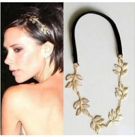 hot sell 2014 New Fashion Gold Elastic Romantic Olive Branch Leaves Head Bands Hair Accessories 5026