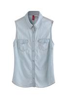 2013 New fashion women's elegant pocket Cowboy vest shirt turndown collar sleeveless vintage casual slim brand designer tops