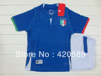 Free shipping Child soccer jersey 13-14 Italy home Blue kids soccer uniforms Best quality soccer football jerseys + shorts
