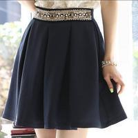 2014 Women's Summer Autumn Skirts Fashion Elegant OL Pearl Beading High Waist Slim Pleated A-line Bust Skirt Sale S-XXL 8826
