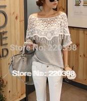 2013 hot sale sweet lace cutout shirt women handmade crochet cape collar batwing sleeve blouse medium-long t shirt female 6218