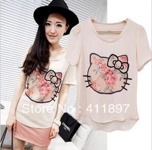 2014 Big Promotion!summer Tees For hello kitty Women Fashion cartoon print cute shirts free shipping73(China (Mainland))