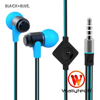 100 X Wallytech  High Quality Flat Cable Metal Earphones For iPhone5 With Microphone & On/Off Remote  6 Colors (WHF-116)