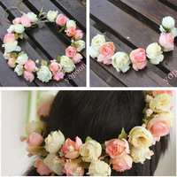 Free Shipping Hair Bridal Wedding Wreath Flower Girl Garland Pink White Yellow Purple Rose Accessory Artificial New YP0501-006