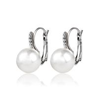 High Quality ! Hot Sale New Design Fashion Imitation Rhodium Plated Rhinestones Pearl Fashion Drop Earrings