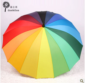 Top Quality sun Citymoon Fahsion Long handle Straight rainbow umbrellarainbow umbrella 24k protection Umbrellas free shipping(China (Mainland))