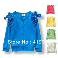 Free shipping Baby Girls Autumn Lovely Bow Cardigan Full Sleeve Single Creasted Top Lace Shoulder Blue/Red/Green/Gary/-1171