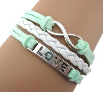 Handmade Braided PU Leather Bracelet Sideway Alloy Love Charm Infinity Bracelet Karma Bracelet