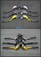 Free Shipping Adjustable Foldable Folding Brake Clutch Levers Extendable For Suzuki GSXR 1000 K1 K3 K5 K7 K9 Black Gold Titanium