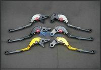 Free Shipping CNC Adjustable Foldable Folding Brake Clutch Levers Extendable For Honda CBR 600 F2,F3,F4,F4I Black Gold Titanium