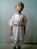 Best Quality 2013-2014 Real Madrid kid child football shirts home white real madrid youth 13/14 jerseys &short kids sportswear
