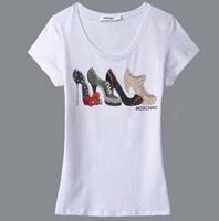 Fashion brand oversized tops shirts for women 2013 summer Classic rhinestone high heels short sleeve women tee