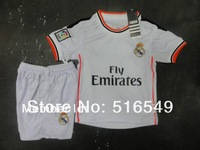EMS/DHL shipping real madrid kids youth white soccer jerseys(shirts+shorts) 13-14,2013 child real madrid jersey kits 20set/lot