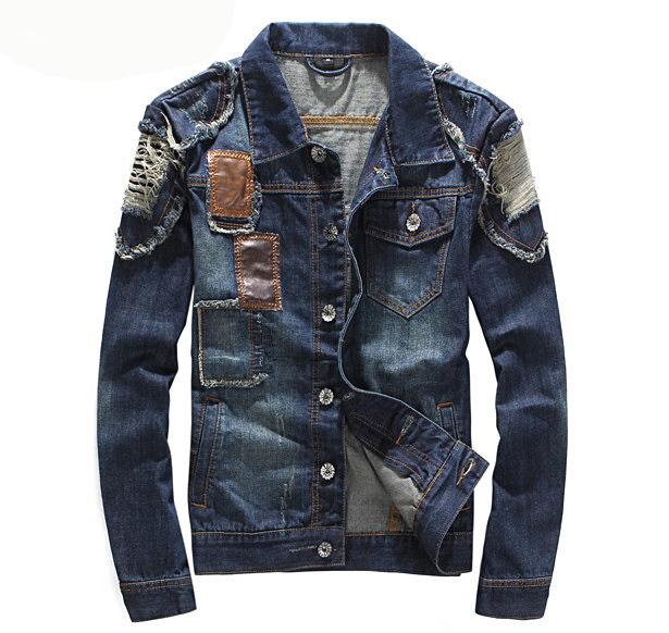 free shipping Hip-hop men denim jacket discount denim coat jean jacket men(China (Mainland))