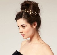 Min.order is $15 (mix order) Free Shipping Fashion Golden Alloy Leaf Elastic Hair Headband Hair Accessories for Women