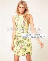 Free shipping! Brand Designer Tank dress Fresh print cutout lace after V-neck slim sleeveless casual dress one-piece dress 108