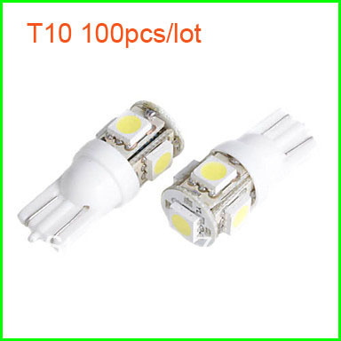 Free Shipping 100pcs Wholesale 1W 5 SMD LED Car Decorative Light /Floodlight T10 5050 (Super Bright Bulb, Wide Light) VB156(China (Mainland))