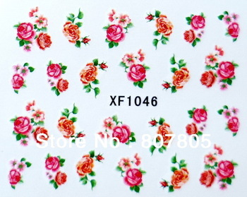 100 Different Flowers Design Nail Art Wrap Water Transfer Decals Pretty Rose Flowers & Butterfly 300PACK Free Shipping