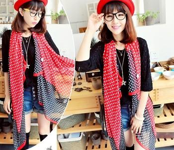 2013 New arrival ladies fashion chiffon polka dot print oversized sunscreen multifunctional design long beach silk scarf