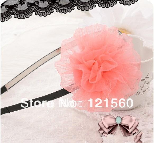 Free shipping Hot sale Child pink flower silk yarn lace flower headband(China (Mainland))