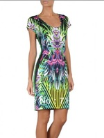 Free Shipping New Arrival Hot Slim Lady Woman Abstract Graffiti Mini Vintage Dress 2013 Green Floral Print Designer Brand