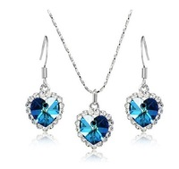 big heart shape crystal pendant necklace and earring set