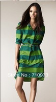 Free Shipping 2013 New Fashion Women Business Attire Long Sleeve Pete Pan Colloar Green Striped OL Lady Dress With Belt Free