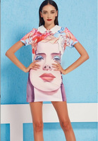 Free Shipping 2014 Brand Ladies Slim SleevelessPeter Pan Collar Novelty Sexy Dress Summer With Cute Doll Head Printed