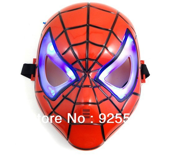 spiderman mask HALLOWEEN MASK/Cosplay Glowing Spiderman Mask with LED Eyes Make up Toy for Kids Boys(China (Mainland))