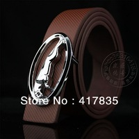 Free shipping men's belt Jaguar belt female circular smooth buckle men's belt silver buckle unisex leather belt