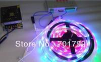 BLACK PCB 5m DC5V 30leds/m WS2812B led pixel srip,IP68 + T-1000S sd controller+ 5V/60W power supply