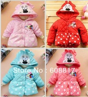 Free shipping 4pcs/lot 2013 Winter cotton Girls Children's coat Minnie Cartoon design the dim thick coat lovely princess coat
