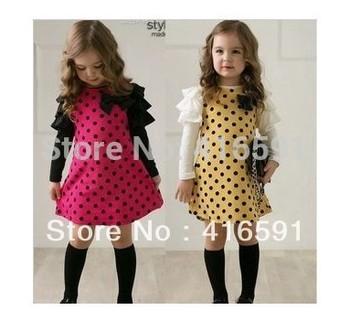 2014 New design Korean spring baby girls dress children cute dot full sleeve rose yellow color 5 pcs wholesale dress