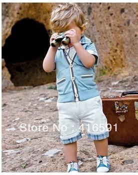 wholesale 5sets/lot 2013 fashion baby boy summer leisure clothing sets 2pcs suits set jeans pants and top