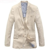 FREE SHIPPING  natural linen suit male buckle casual slim suit blazer single tier