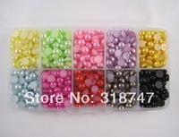 Free Shipping wholesale 6mm 1300pcs mixed color round ABS flatback pearls imitation pearl DIY 005003005(5)