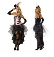 Showgirl Costumes Adult Ladies Sexy Burlesque Western Stylish Theme Party Fancy Dress Up Outfit Dresses W/ Head-Piece and Gloves