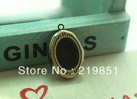 Free Shipping(12pieces/lot)10*14MM Antique Bronze European Retro Oval Studded Blank Prayer Box Photo Locket Jewelry Y15