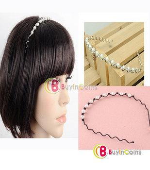 New Women Stylish Fashion Simulation Pearl Crystal Waves Headband Hair Band Gift [11239|01|01]