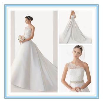 New Arriva One Shoulder Satin Sexy Wedding Dress In Dubai(WDRO-1005)