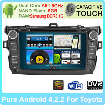 "HD 8"" Android 4.0 Car PC For Toyota Corolla 2012 android With DVD GPS Support 3G Stereo Bluetooth Phone Free Wifi Free Shipping"