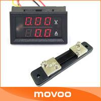 YB27VA Volt Amp Dual display Meter 2in1 DC 0-100V/50A Red LED Voltmeter Ammeter With Shunt Resistance #100043