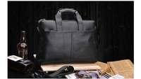 SANTAGOLF male genuine leather briefcase portfolio handbag shoulder bag