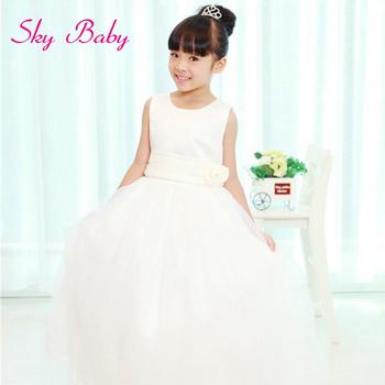 Children Summer Princess Dress 2014, Chiffon Long Dress for Little Girls,Kids Party Dresses Tutu Dress White Blue Wholesale