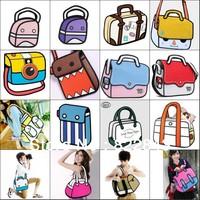Wholesale many kinds of style 3d cartoon comic bag, Free Shipping cartoon 2d 3d gismo comic 2d 3d bag,drop shipping