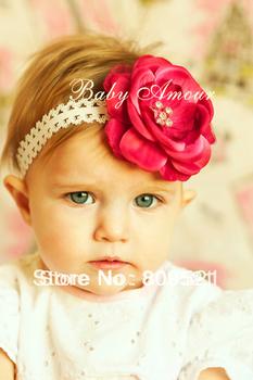 Free Shipping Lace Flower Newborn Baby Infant Toddler Kid Girl Headband Christening Elastic